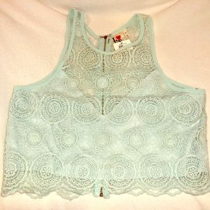 NWT Apricot Lane Boutique Lace Crop Top
